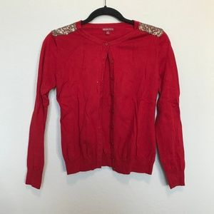 Merona Red Gold Sequin Shoulder Cardigan Sweater